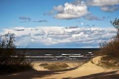 Seashore with dunes and Baltic sea. Seashore with sand dunes and stormy Baltic sea Royalty Free Stock Image