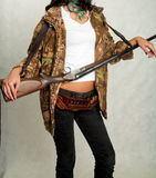 Seashore dziewczyna z pistoletem 12 Zdjęcie Royalty Free