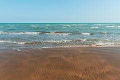 Seashore, empty beach. Seashore, empty warm golden beach royalty free stock images