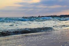 Seashore in the evening at sunset. Cyprus. Ayia Napa Royalty Free Stock Photo