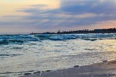 Seashore in the evening at sunset. Cyprus. Ayia Napa Royalty Free Stock Image