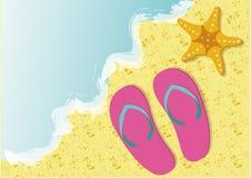 Seashore. Flip-flop and starfish at the seashore royalty free illustration
