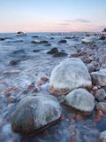 Seashore in the freezing winter morning Royalty Free Stock Photography