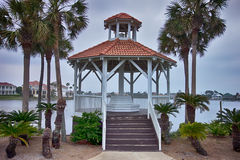Seashore gazebo and palm trees in florida Stock Photo