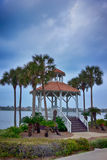 Seashore gazebo and palm trees in florida Stock Image
