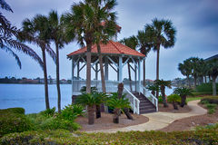 Seashore gazebo and palm trees in florida Royalty Free Stock Image