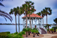 Seashore gazebo and palm trees in florida Stock Photography