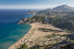 Seashore landscape of Rhodes island, Greece Stock Photography