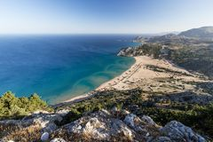 Seashore landscape of Rhodes island, Greece Stock Images