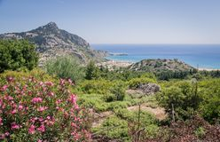 Seashore landscape of Rhodes island, Greece Royalty Free Stock Images