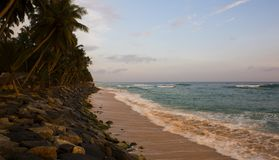 Seashore landscape. Sri Lanka during sea storm under heavy cloud. S as seen from the beach. Sri Lankan Fishing. Beautiful stormy Sea view, seashore. Beach Royalty Free Stock Photography