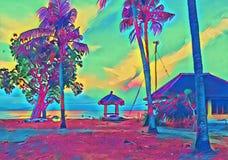 Beach gazebo on sunset. Fantastic seaside digital illustration. Royalty Free Stock Photography