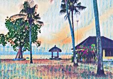 Beach gazebo on sunset. Tropical seaside vintage digital illustration. Royalty Free Stock Photography