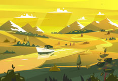 Seashore landscape. Vector illustration Stock Images