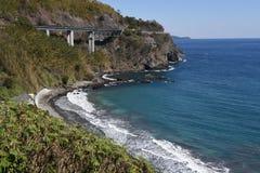 Seashore landscape White waves. / Izu peninsula , Shizuoka Prefecture Japan stock photos