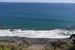 Seashore landscape White waves stock image
