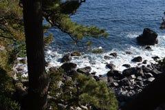 Seashore landscape White waves. / Izu peninsula , Shizuoka Prefecture Japan stock image