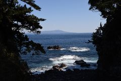 Seashore landscape White waves. / Izu peninsula , Shizuoka Prefecture Japan royalty free stock photo
