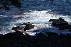 Seashore landscape White waves. / Izu peninsula , Shizuoka Prefecture Japan royalty free stock images