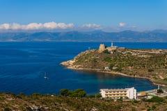 Seashore and Lighthouse in Cagliari, Sardegna. Sea coast and lighthouse in Cagliari, Sardegna island. Wide angle sea view. Tower in Cagliari - capital of stock photos