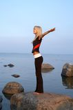 Seashore meditation Royalty Free Stock Photo