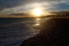 Seashore in nice at sunset stock photography