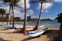 Seashore Pacific Ocean Waikiki Beach Oahu Hawaii Diamond Head Stock Photography