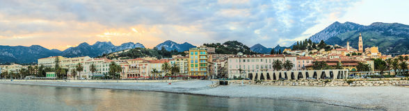 Seashore promenade in Menton panorama Royalty Free Stock Photos