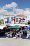 Seashore  restaurants of touristic town Cunda Alibey Island, Ayvalik. It is a small island in the Royalty Free Stock Photography
