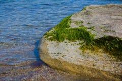 Seashore, rocks, blue water, Caspian sea. Seashore, rocks, blue water royalty free stock images