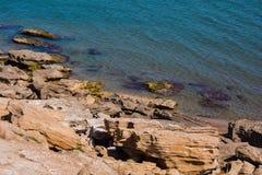 Seashore, rocks, blue water, Caspian sea. Seashore, rocks, blue water royalty free stock image