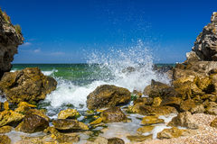 Seashore with rocks and splashing waves. With spray Royalty Free Stock Images