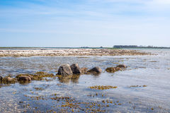 Seashore with rocks in the water. In daylight Royalty Free Stock Photo
