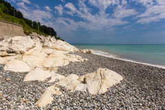 Seashore with rocks Royalty Free Stock Image