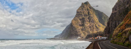 Seashore of San Vincente, Madeira. Seashore of San Vincente (São Vicente), Madeira at stormy weather with high waves on Atlantic ocean Stock Photos