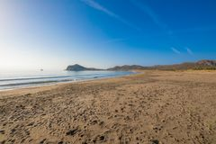 Seashore of sandy Genoveses Beach in Gata Cape Almeria stock images