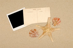 Summer beach blank polaroid starfish post card Stock Images