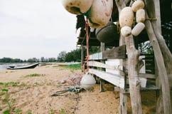 seashore scenery at Terengganu, Malaysia. Dirty white fish net b Stock Photos