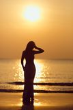 Seashore Silhouette and Sunset Royalty Free Stock Photography