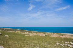 Seashore, sky, blue water, Caspian sea Royalty Free Stock Photo