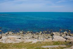 Seashore, sky, blue water, Caspian sea Royalty Free Stock Photos
