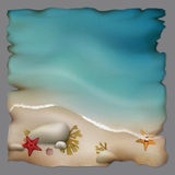 Seashore with stones and starfishes on retro paper Royalty Free Stock Image