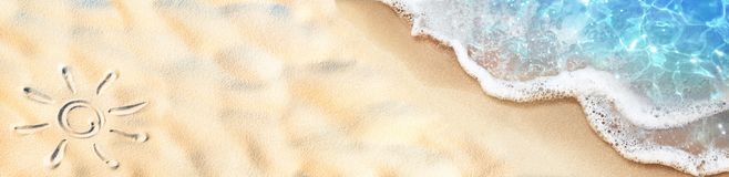 Free Seashore - Sun Drawn On The Sand And Waves Stock Photo - 150015670