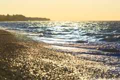 Seashore during sundown. Composition of the nature European sea shore royalty free stock images