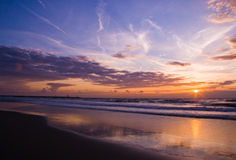 Seashore sunset. The beautiful blue and orange colors of a sunset at the beach Stock Images