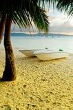 Sunset  landscape. Boats on the coast of Boracay i Stock Image