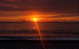 Seashore at sunset sky background Royalty Free Stock Photography