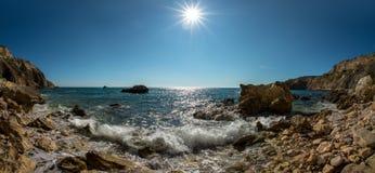 Seashore and surge splash. Beauty nature sea landscape Crimea, horizontal photo royalty free stock photo