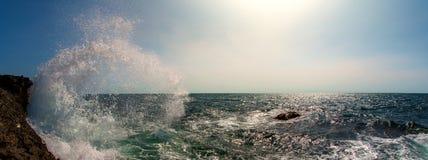 Seashore and surge splash. Beauty nature sea landscape, horizontal photo, panoramic view royalty free stock images