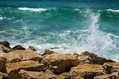 Seashore in Tel Aviv. Seashore with stones in Tel Aviv stock image